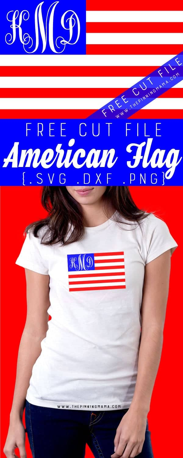 Free American Flag Cut File for Cricut or Silhouette CAMEO. SVG DXF and PNG format