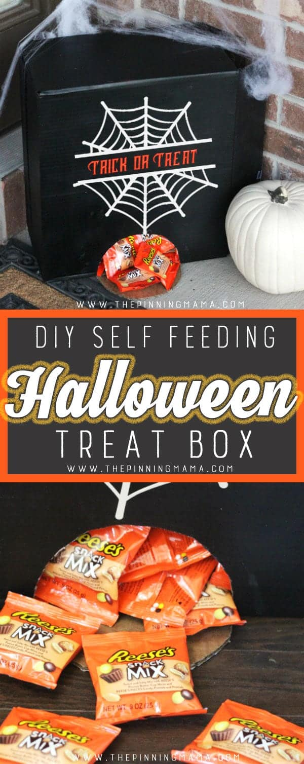 DIY Self Feeding Halloween Treat Box- The perfect way to hand out candy when you aren't home on Halloween and it couldn't be easier to make!