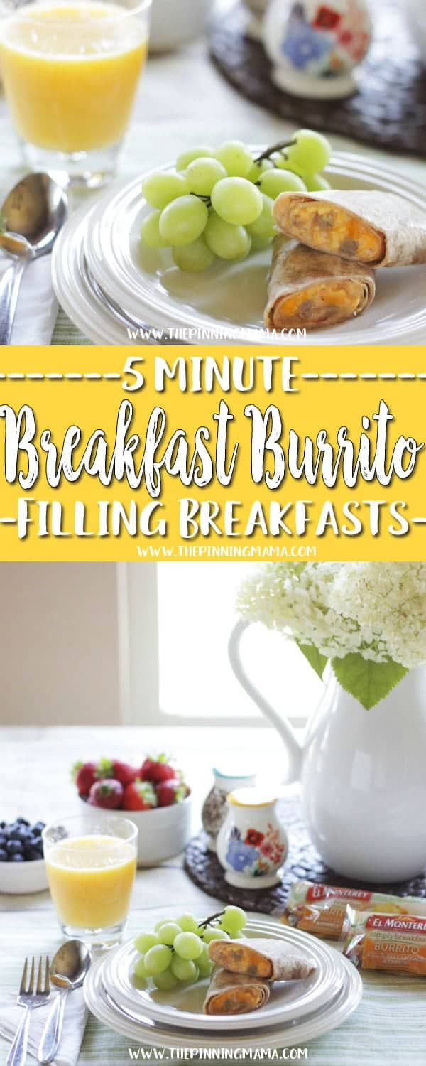 Breakfast Burrito : Fast Healthy Breakfast Idea - A total of six 5 minute breakfast ideas that you and your kids will love! Check out all the other ideas for lots of great quick breakfast ideas!