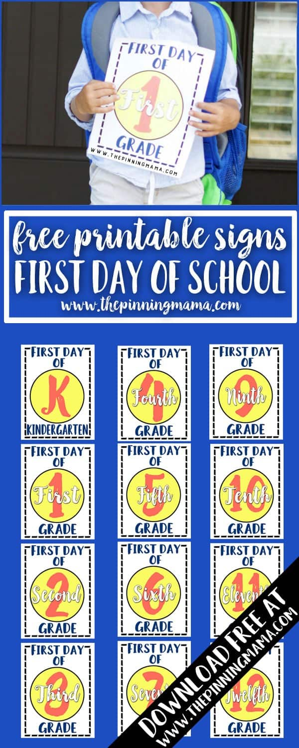 Free Printable First Day of School Signs - Pre-K through 12th grade! Use these for the cutest first day of school photos!