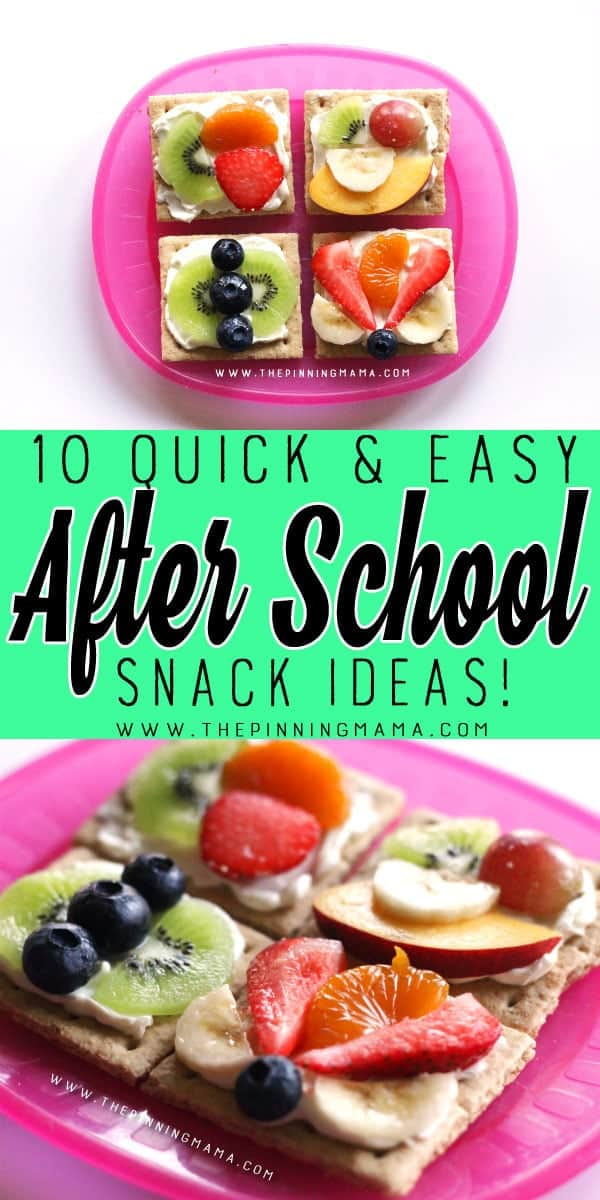 Fruit Pizza on Graham Crackers - 10 Quick and Easy After School Snack Ideas for Kids. You can literally make all of these in only 5 minutes!!