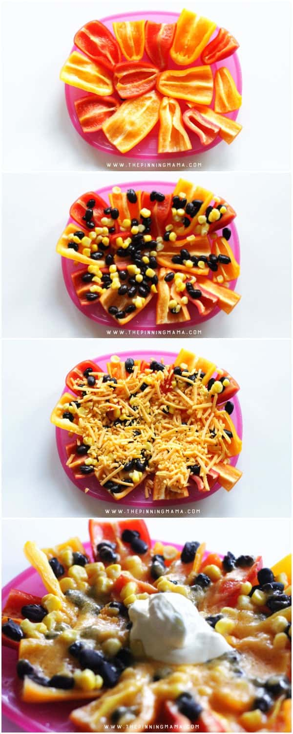 Mini Pepper Nachos are so easy to make and healthier than using chips! You still get a crunch from the pepper but my kids devour them with all the cheesy goodness on top!