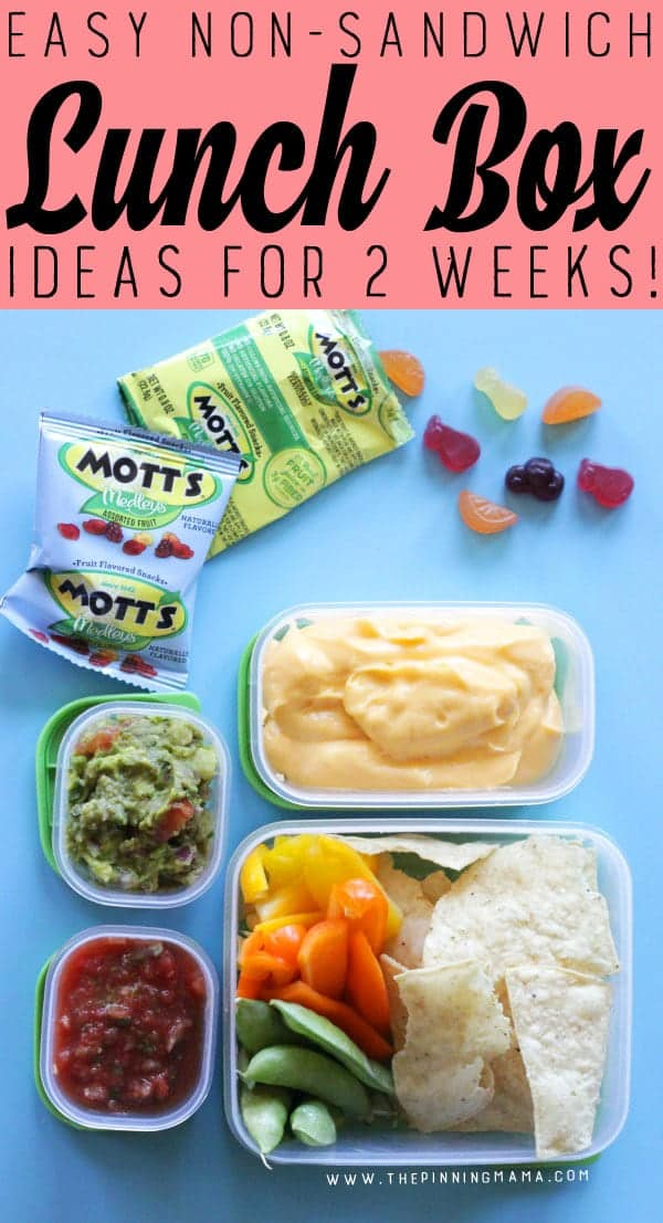 Healthier Nachos lunch box idea for kids! Just one of 2 weeks worth of non-sandwich school lunch ideas that are fun, healthy, and easy to make! Grab your lunch bag or bento box and get started!