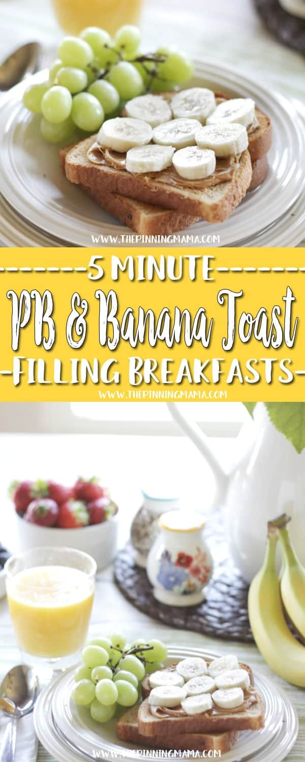 Peanut Butter Toast Fast Healthy Breakfast Idea - A total of six 5 minute breakfast ideas that you and your kids will love! Check out all the other ideas for lots of great quick breakfast ideas!