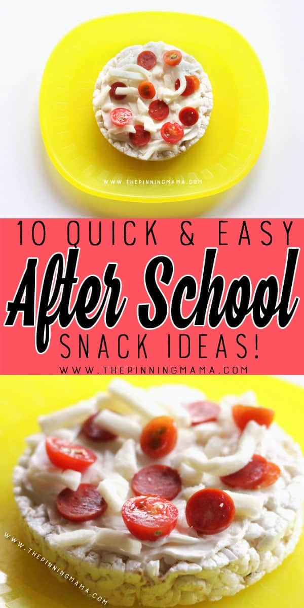 """Pizza"" Rice Cake Snack - 10 Quick and Easy After School Snack Ideas for Kids. You can literally make all of these in only 5 minutes!!"