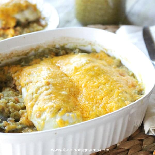 Salsa Verde Chicken Bake Recipe - 5 Ingredient Quick, Healthy & Easy Dinner Idea. Great for busy week nights!