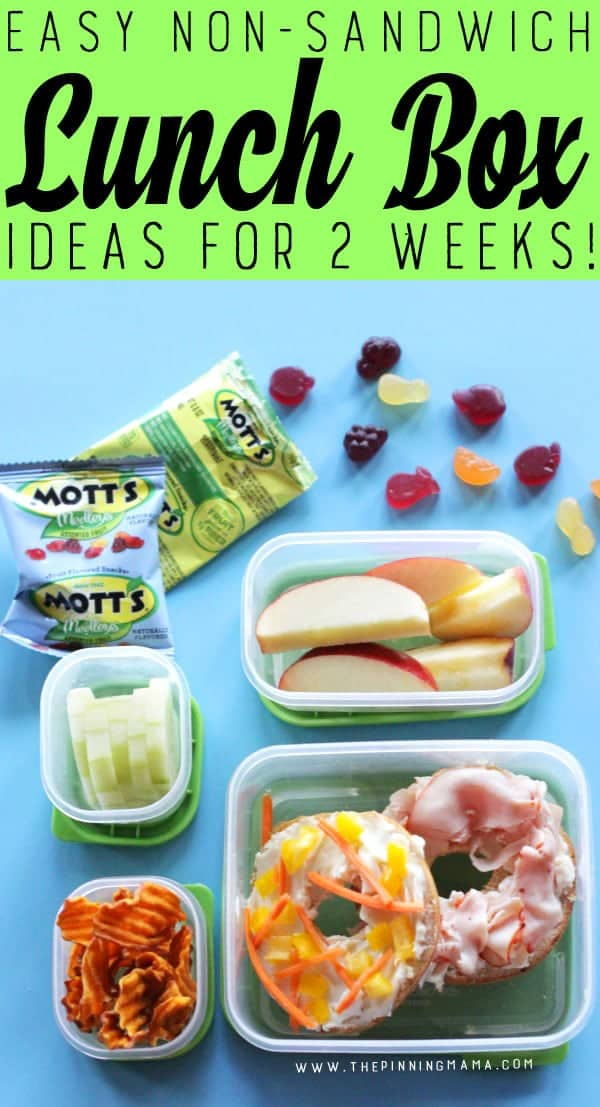 Turkey Bagel lunch box idea for kids! Just one of 2 weeks worth of non-sandwich school lunch ideas that are fun, healthy, and easy to make! Grab your lunch bag or bento box and get started!