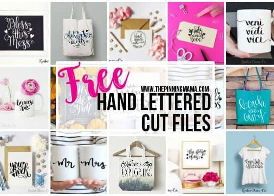 Free Hand Lettered Cut FIles for your Silhouette CAMEO or Cricut cutting machine! So many craft ideas for these cute cut files!