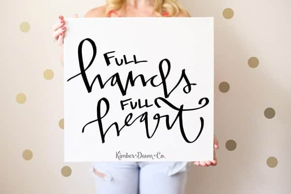 Full Hands Full Heart - Free Cut File for Silhouette CAMEO + Cricut crafts