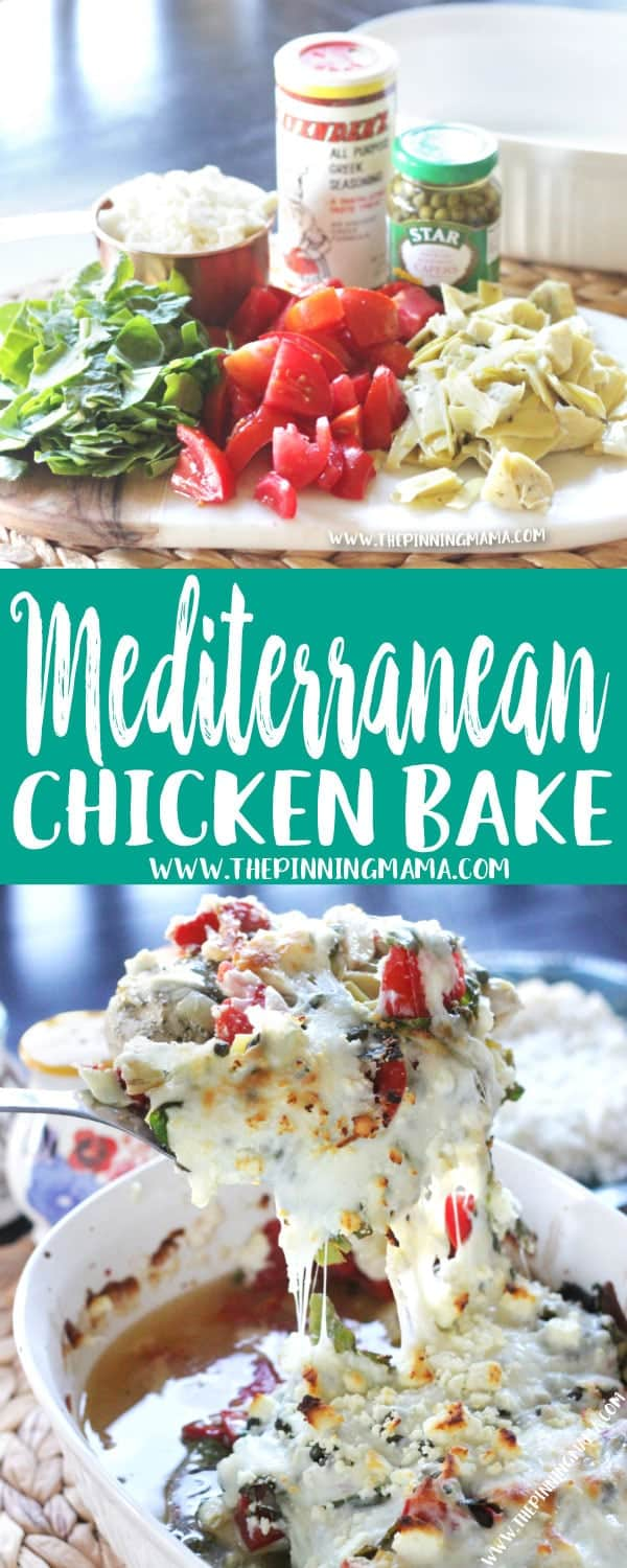 Easy + Delicious = Perfect dinner idea!! Mediterranean Chicken Bake Recipe is as simple as it is delicious. You make it in one pan and it is perfect for both busy week nights AND entertaining guests! Just get ready to hand out the recipe!