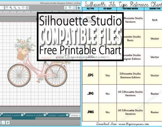 Types of Files that work with your Silhouette CAMEO - Grab the free printable reference chart file for files that work in Silhouette Studio