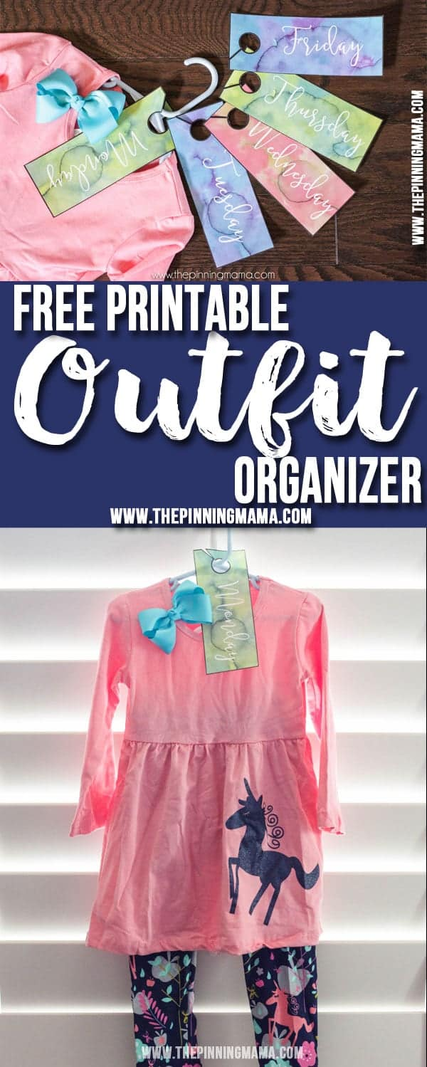 Free printable hang tags to organize outfits for each day of the week. Makes crazy, hectic mornings so much easier!