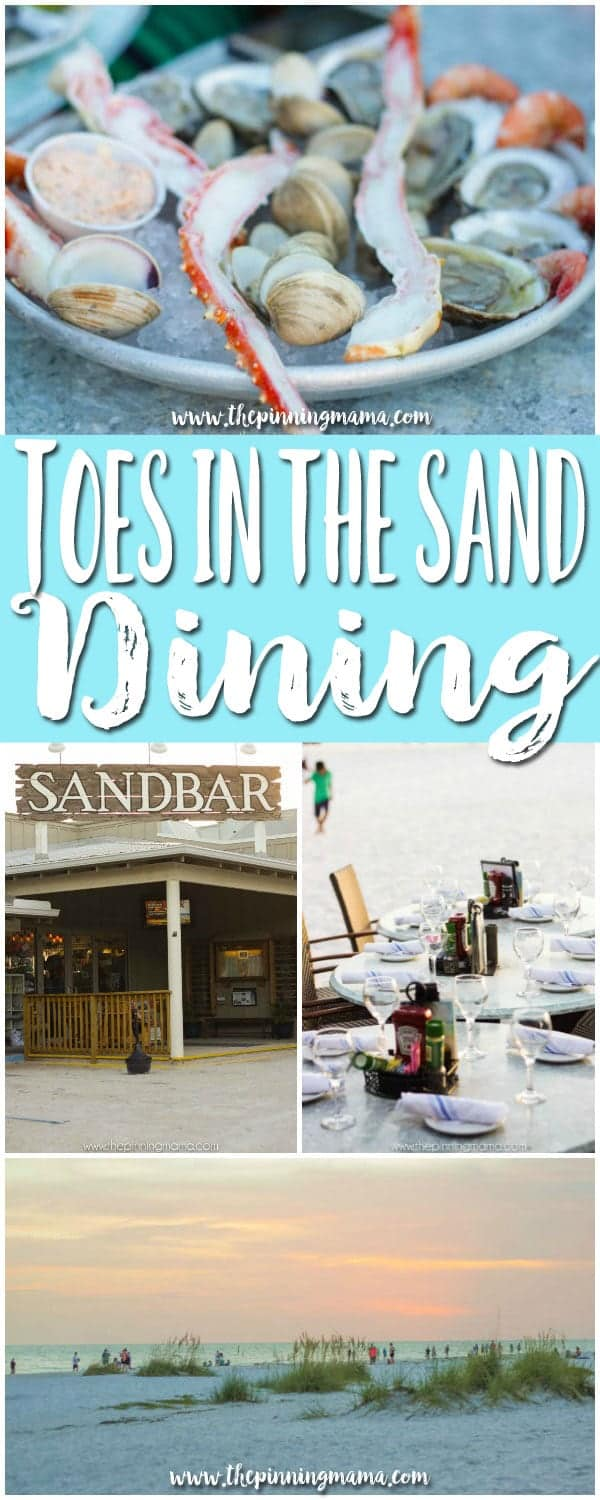 Florida Bucket List - Eat Dinner with Toes in the Sand!  Go to the Sandbar restaurant in Anna Maria Island Florida for the perfect vacation meal!