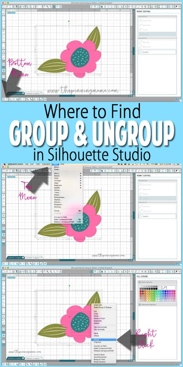 Where to find Group and Ungroup in Silhouette Studio | www.thepinningmama.com