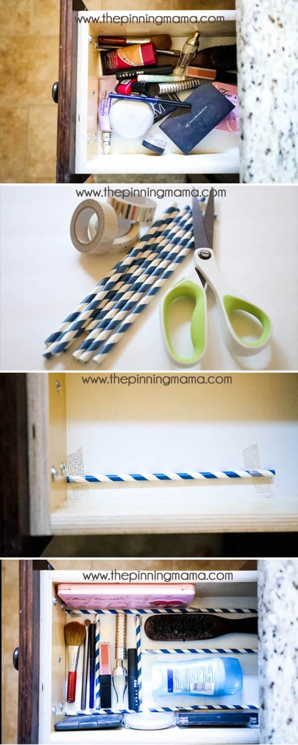 How to oragnize your drawer to keep things from rolling around with just straws and washi tape