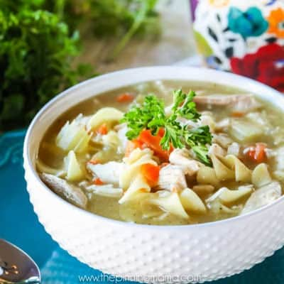 My husband BEGS me to make this recipe at least once a month during the winter! Homemade chicken noodle soup is the best, especially when you have the flu!