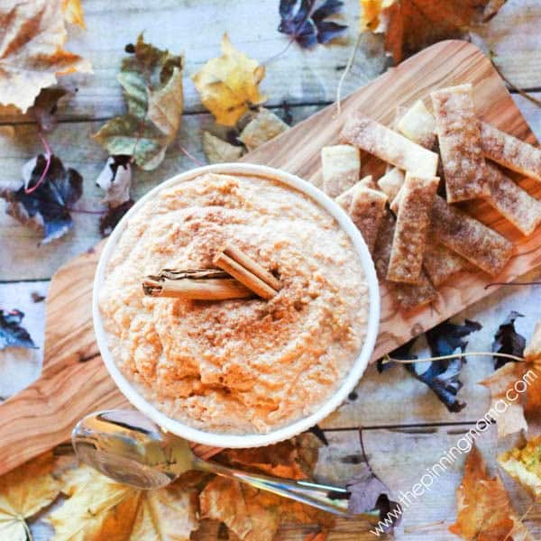 Pumpkin Pie Dip recipe - this is perfect to bring instead of pie for people to snack on all day or use leftover pie to make something new and yummy!