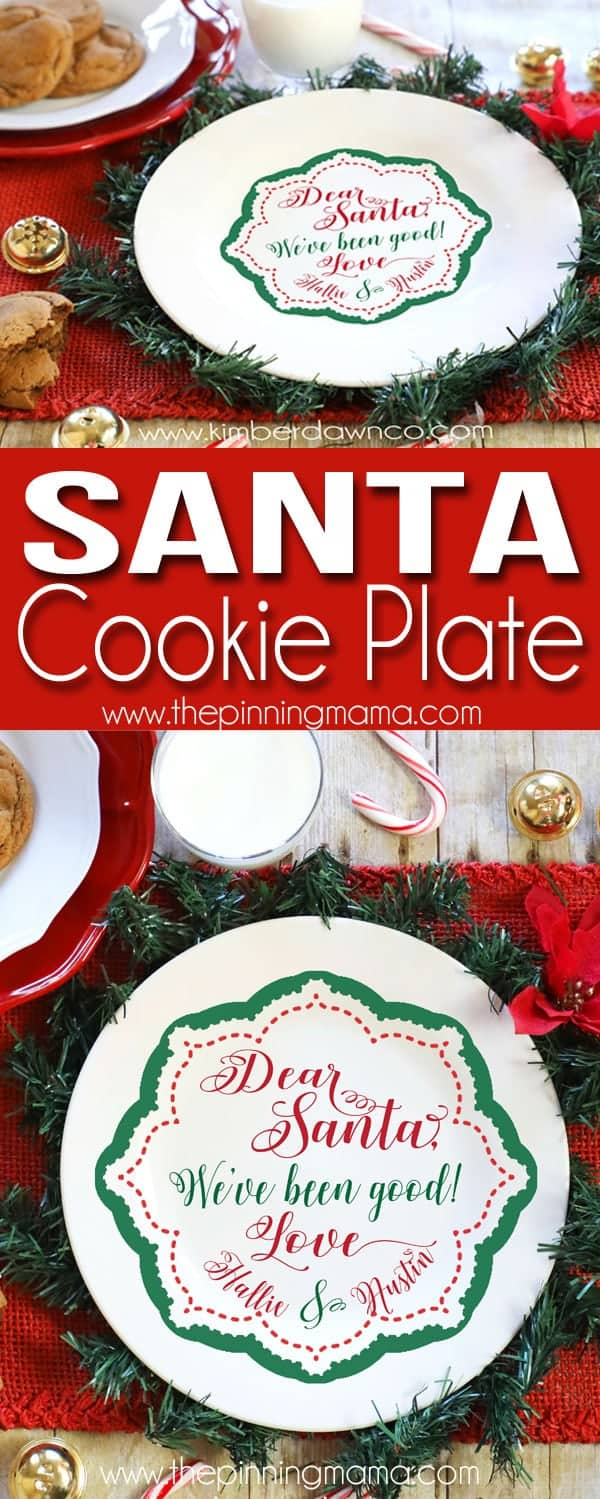 Free Santa Cookie Plate SVG cut file for Silhouette CAMEO + Cricut Crafts!  Perfect craft idea for christmas!