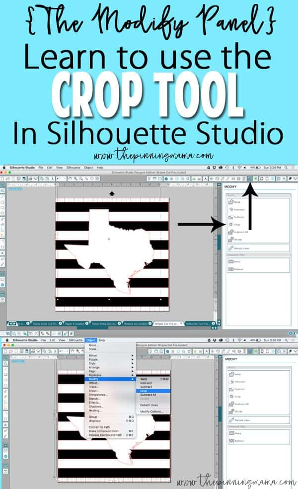 Where is the Crop Tool in Silhouette Studio- Learn this and MORE in FREE beginner Silhouette Trainings at www.thepinningmama.com