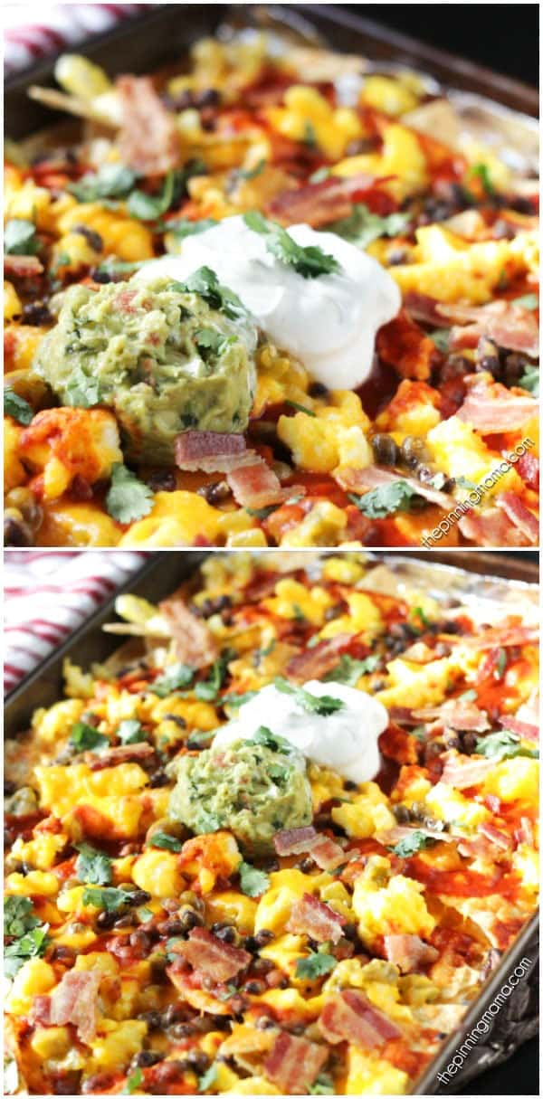 Breakfast Nachos Recipe - This quick and easy breakfast recipe will become a quick favorite if you love nachos as much as we do!  Crispy tortilla chips are layered with eggs, bacon, enchilada sauce and a few other ingredients to make a breakfast to feed 2 or feed a crowd in just minutes.