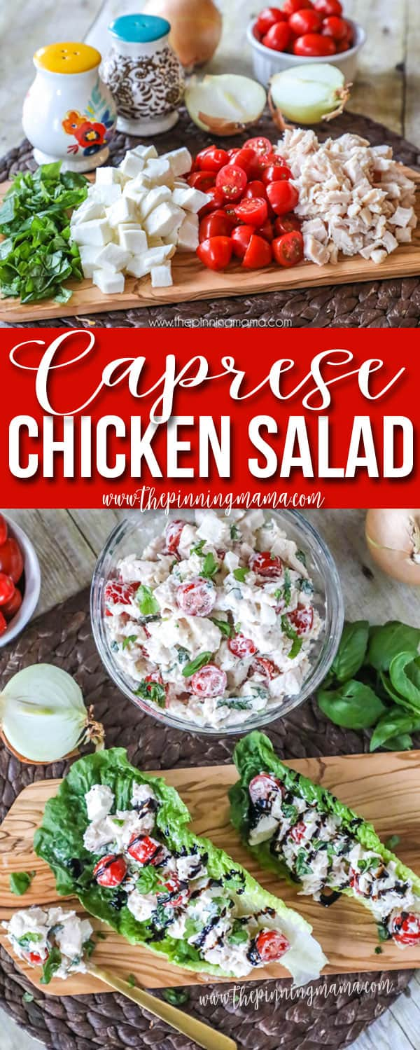 New favorite lunch! This Caprese Chicken salad is loaded with tomatoes, fresh mozzarella, and basil and is totally delicious! Great easy recipe!