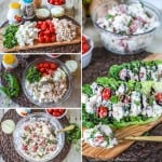 Crazy Delicious!! This Caprese chicken salad has less than 10 ingredients and is so easy to whip up fast! Perfect for a brunch or shower recipe!