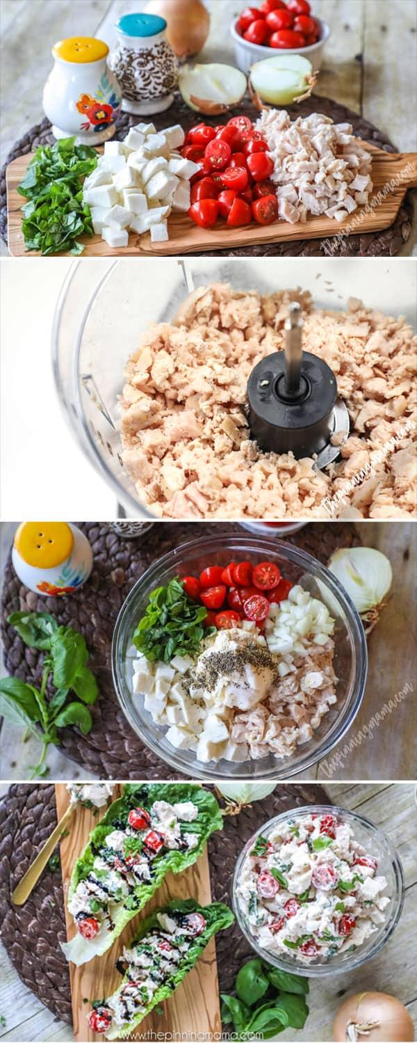 Easy + Delicious + So Pretty! This Caprese Chicken Salad recipe is my new favorite!