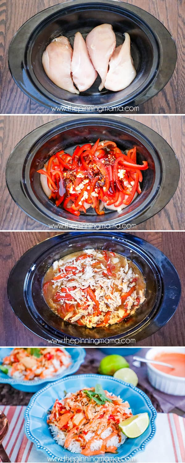 Super easy dinner recipe! Slow Cooker Asian Chicken Bowls with Spicy Mayo. Great recipe for weeknight meal and you can do it as a freezer meal too!