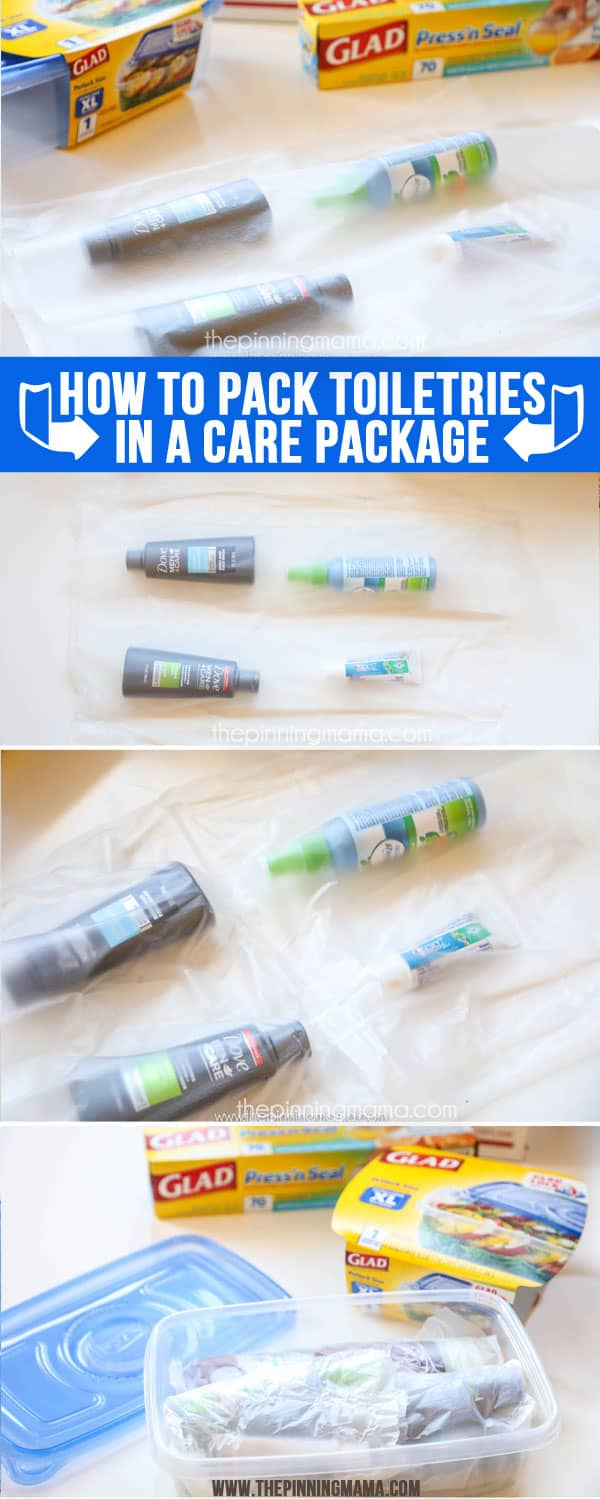 How to pack toiletries in a care package so they don't leak!