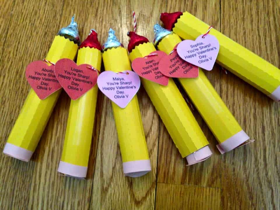 Cute Class Valentines - Free Pencil Cut File