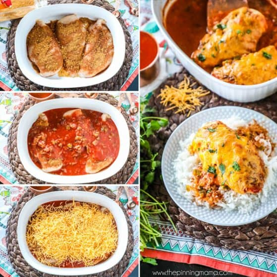 This easy casserole is perfect for a busy weeknight dinner. Salsa Chicken Bake recipe has just 4 ingredients and one dish for a super quick dinner.