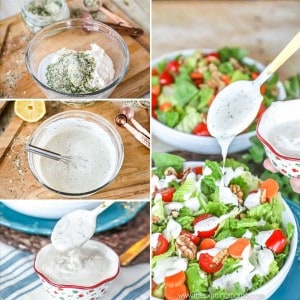 Easy to make Homemade Ranch Dressing Recipe - So crazy good and dairy free, gluten free, paleo, and whole30 compliant. Perfect for a salad or just dipping sauce!