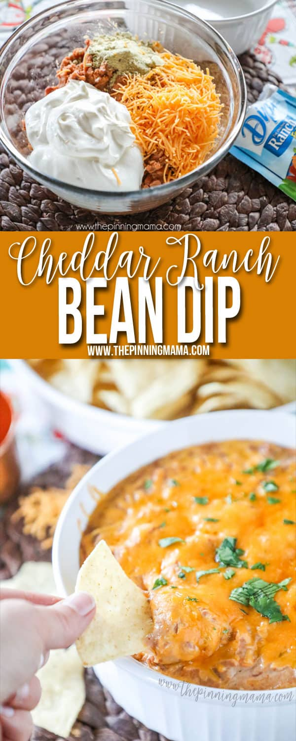 Cheddar Ranch Bean Dip - Perfect quick and easy party appetizer for a crowd!