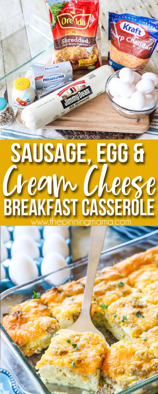 The BEST Breakfast Casserole Ingredients including jimmy dean sausage, hashbrowns, cream cheese, cheddar cheese, eggs and milk