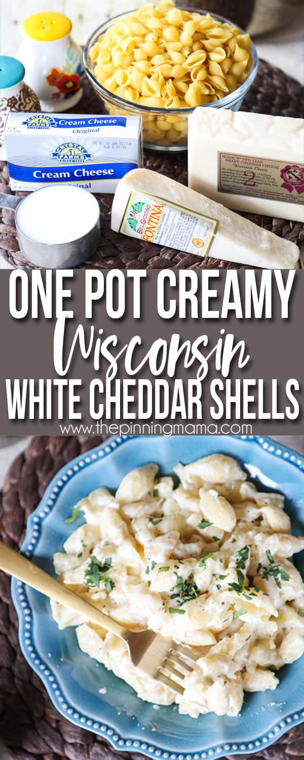 This EASY one pot creamy shells and cheese recipe has no flour and gets it creaminess all from the cream cheese!