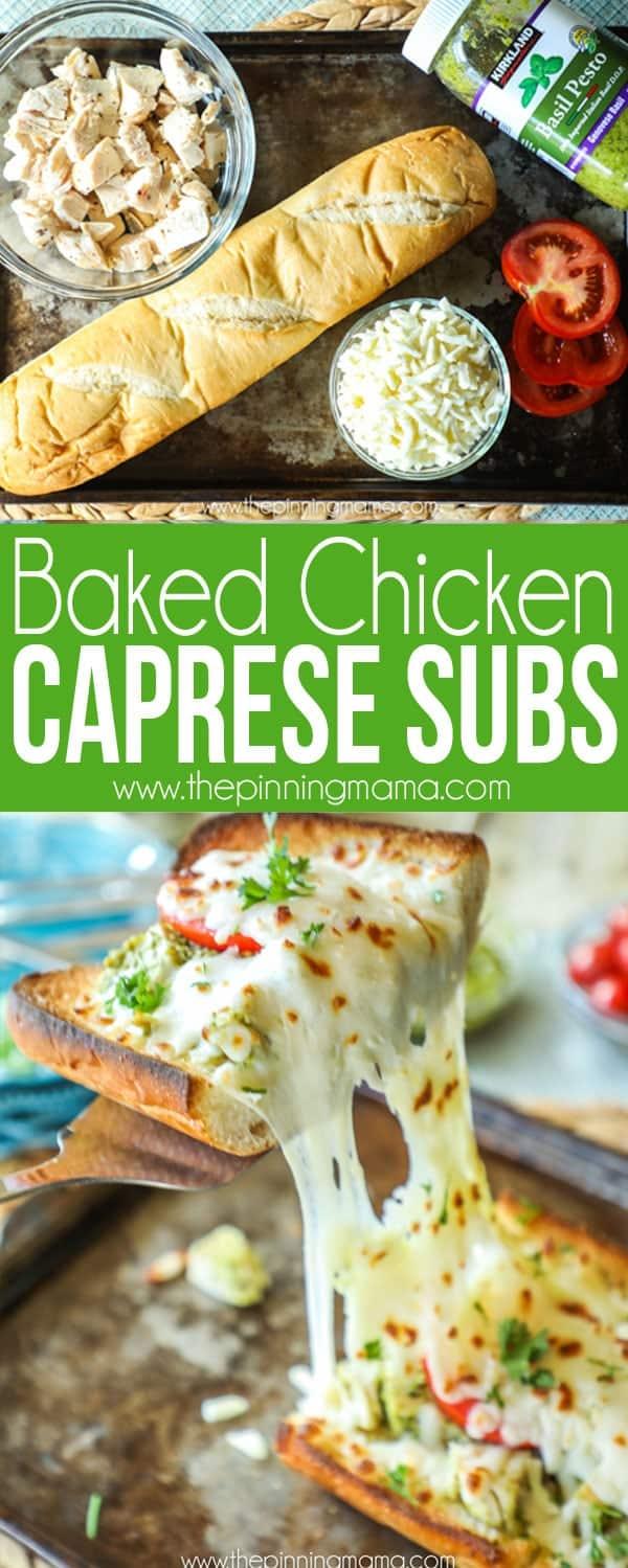 Baked Chicken Caprese Sub recipe Ingredients