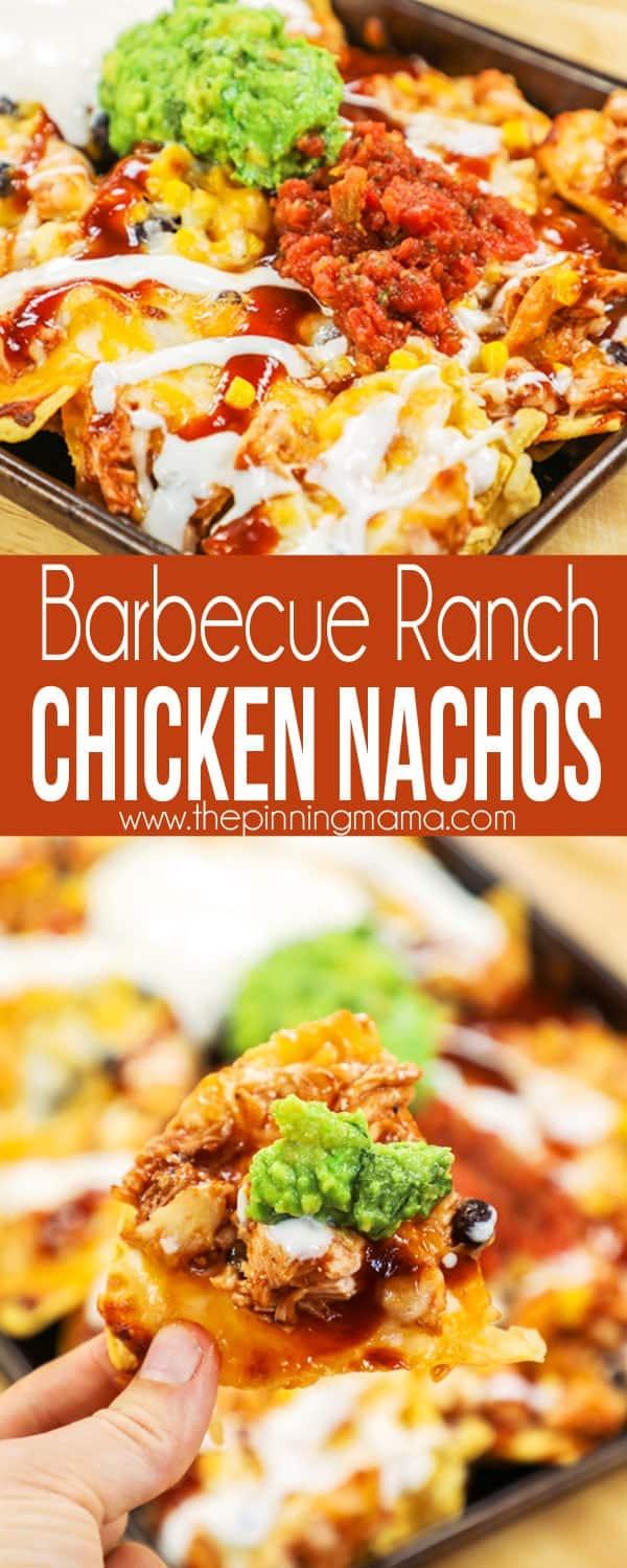 Barbecue Ranch Chicken Nachos on Sheet Pan