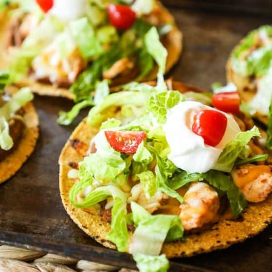 Cookie Sheet Baked Tostadas with Rotisserie Chicken