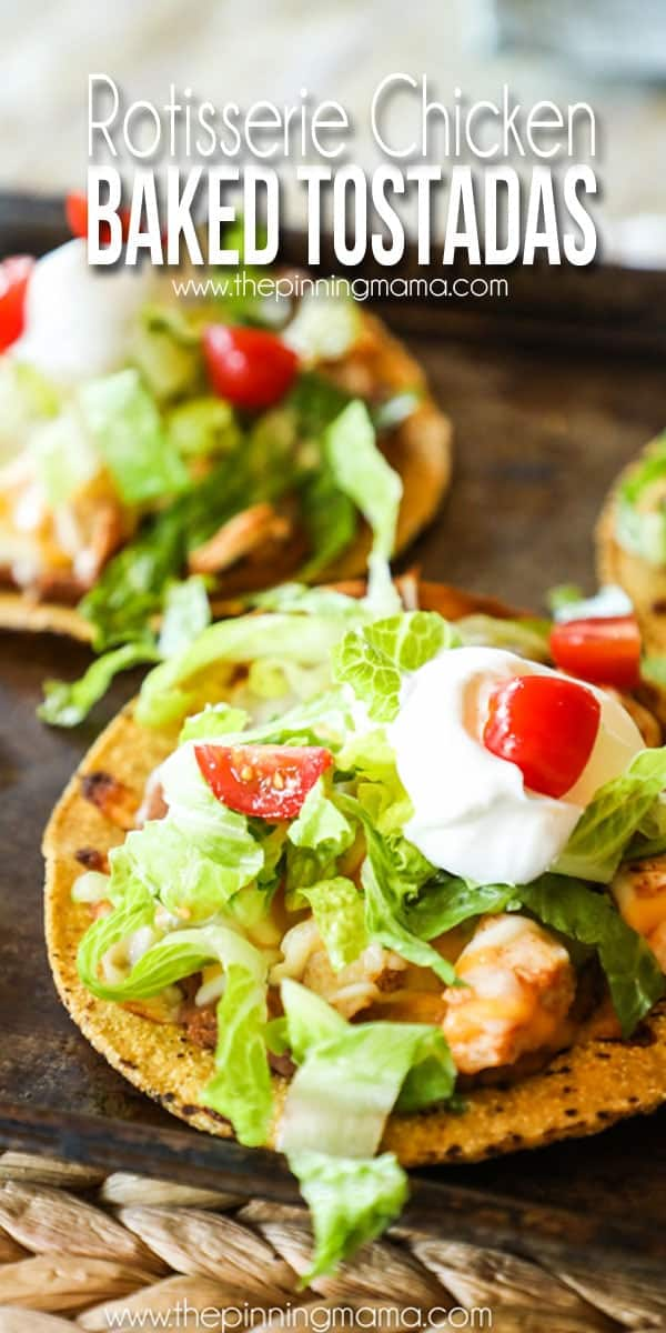 Baked Chicken Tostadas with lettuce tomato and sour cream