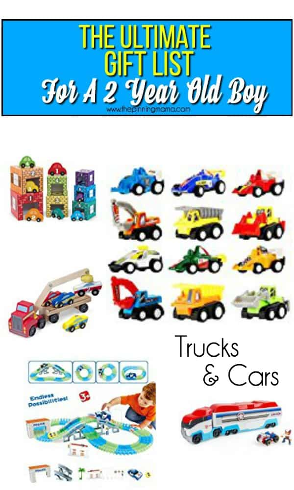 Gift ideas for a 2 year old boy, everything trucks & Cars