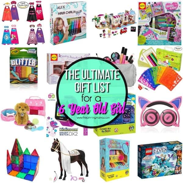 one giant list of gifts for a 6 year old girl