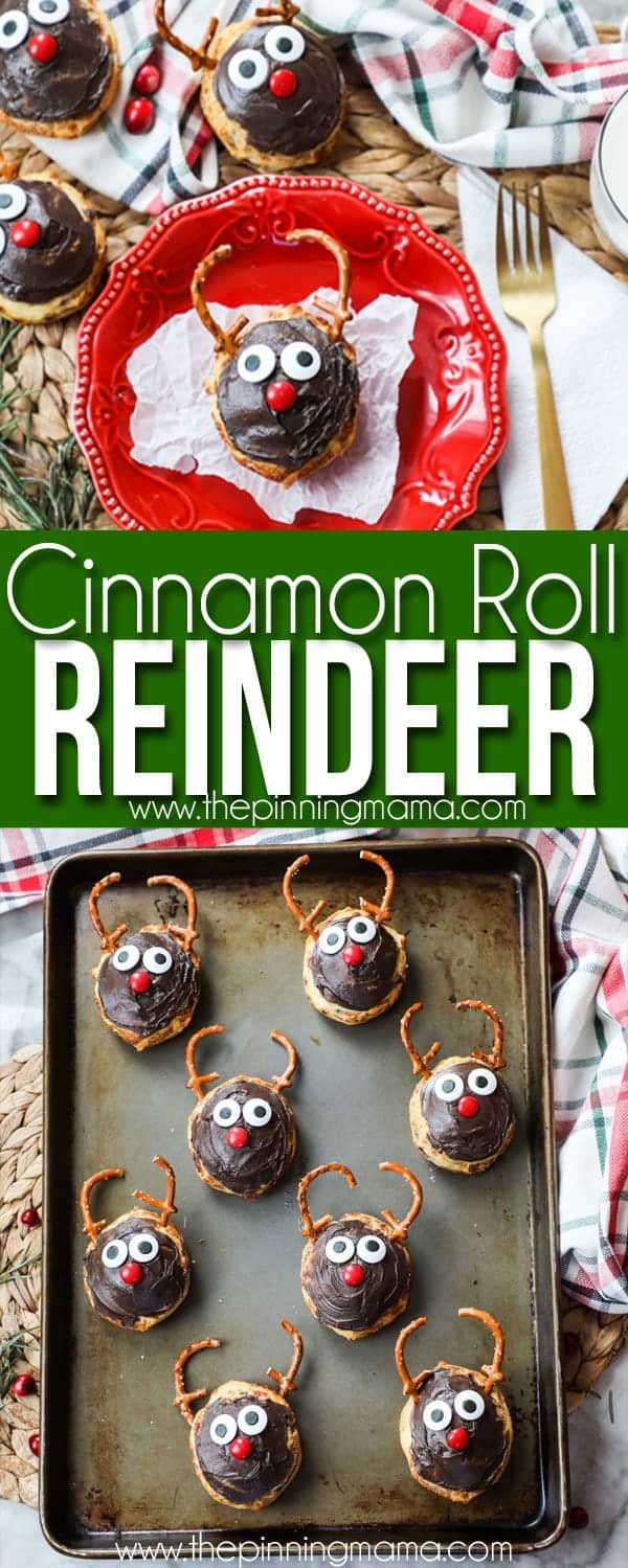 Reindeer Cinnamon Rolls- Easy Christmas Breakfast