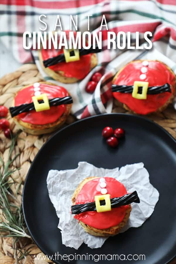 Kids Christmas Breakfast idea- Santa Cinnamon Rolls