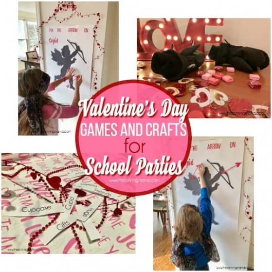 Valentine games and crafts for school parties.
