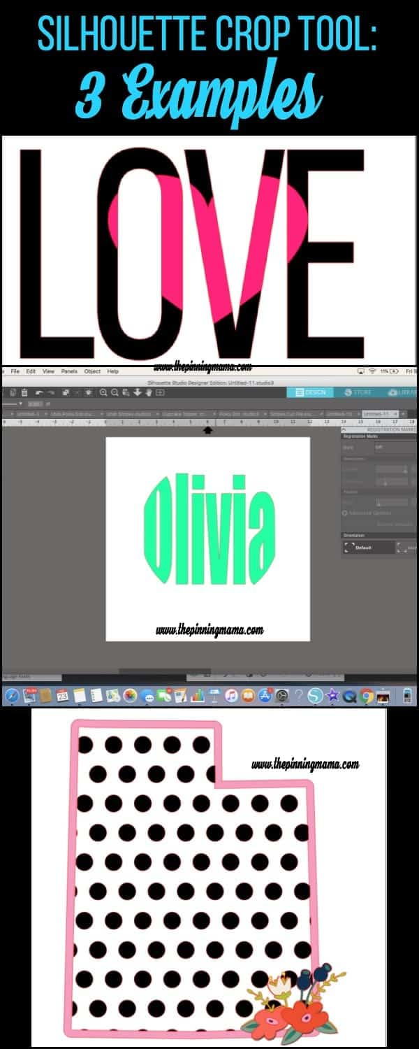3 examples of the Silhouette Crop Tool in Silhouette Studio.