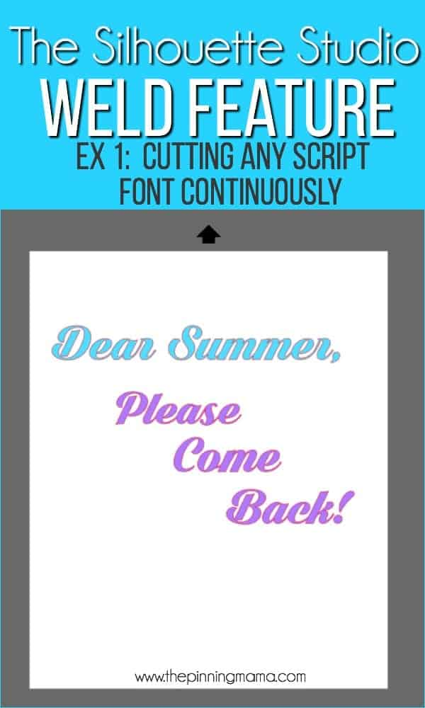 Cutting script font continuously using the Weld feature in Silhouette Studio.