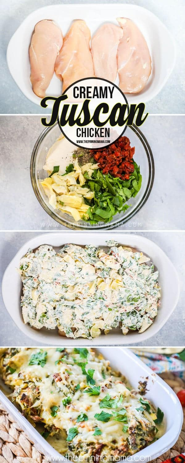 How to make Creamy Tuscan Garlic Chicken - Place chicken in casserole dish, cover with cheese, sun dried tomatoes, artichoke, and spinach mixture, bake and serve