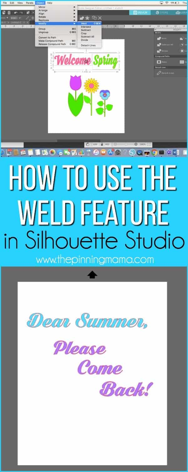 How to Weld Text and Shapes Silhouette Studio {Silhouette Boot Camp