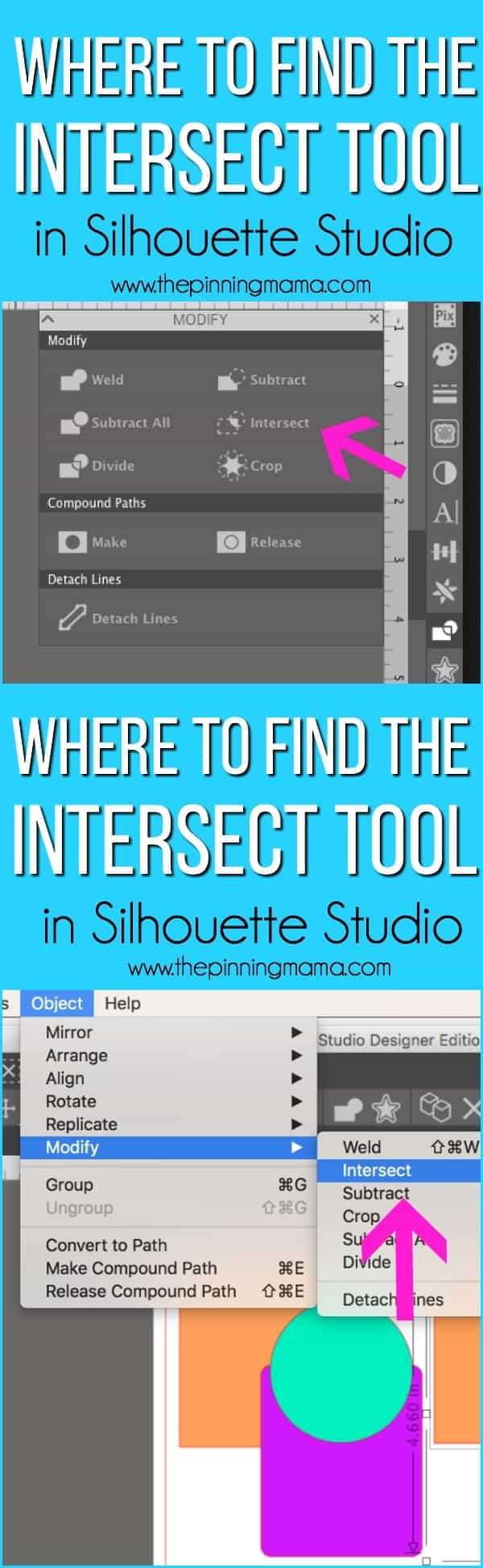 Where do I find the Intersect tool in Silhouette Studio.