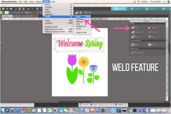 Where is the best places to find the weld feature in Silhouette Studio.